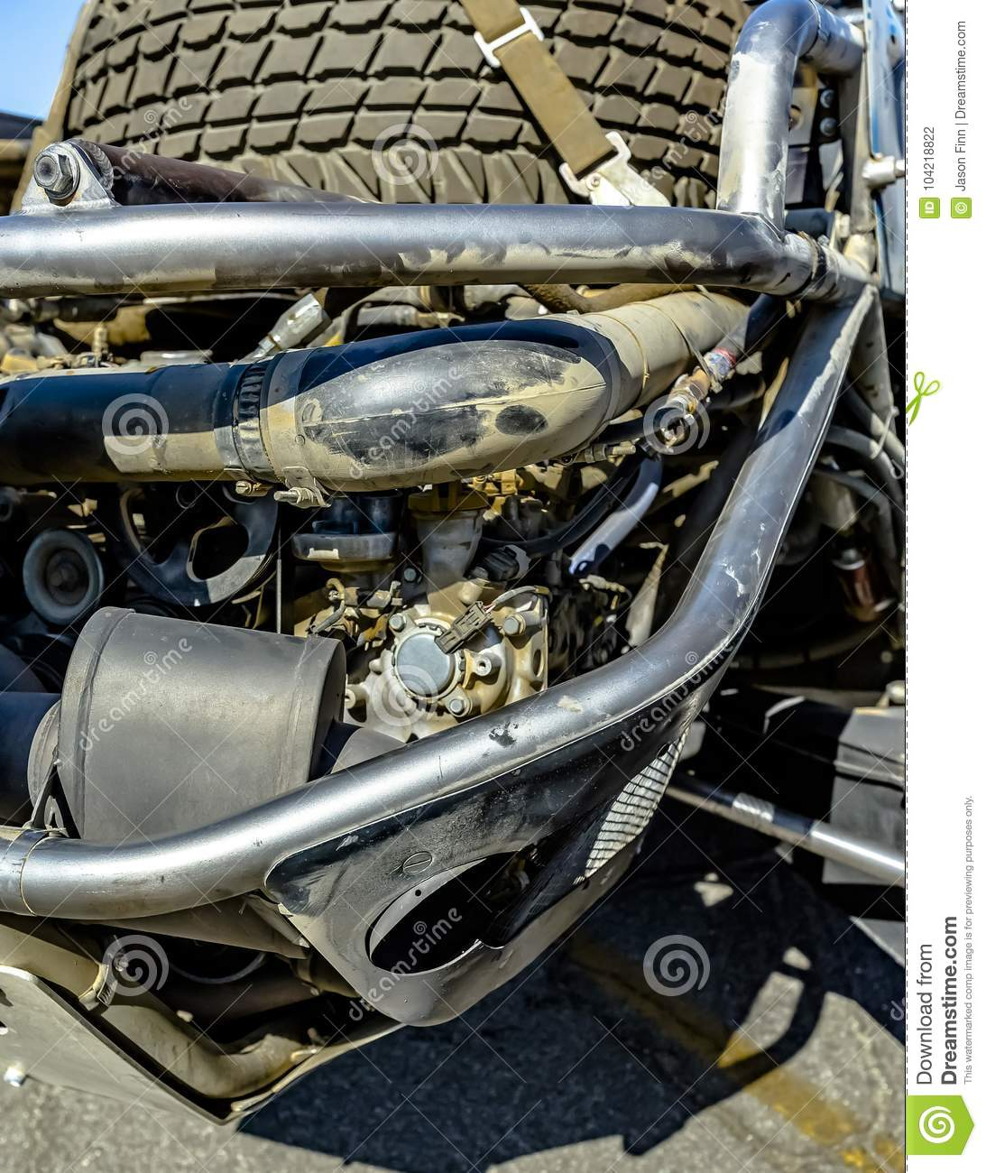 Car Engine In The Back With The Spare Tire Stock Photo - Image of ...