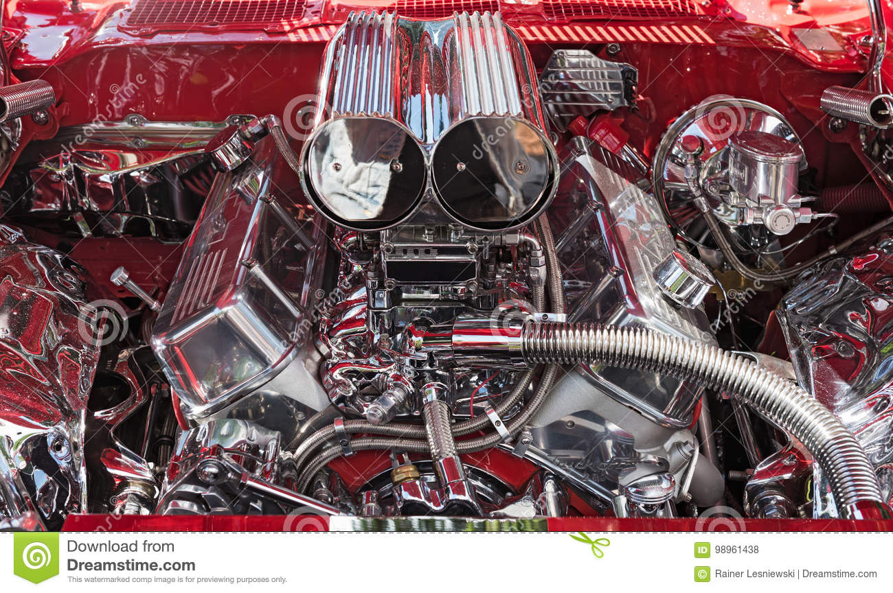 Car Engine, Concept Of Modern Automobile Motor With Chrome ...