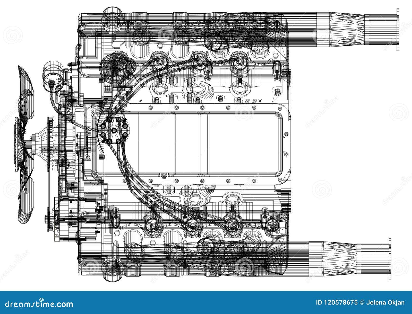 Car Engine Design Architect Blueprint Isolated Stock Illustration Illustration Of Innovation Concepts 120578675