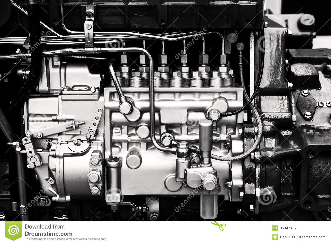 Forged Parts Black And White : Car engine stock image of parts close details