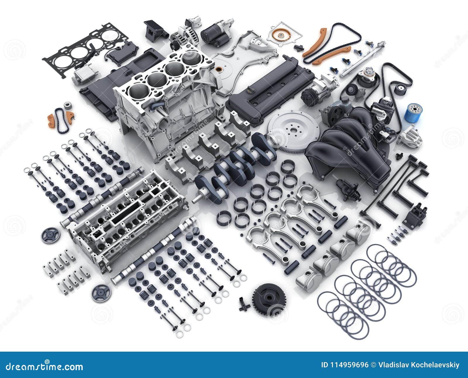 Car Engine Disassembled Many Parts Stock Illustration