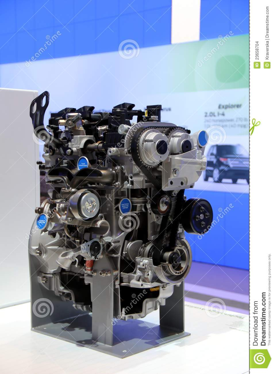 Car Engine On Display At The Exhibition Editorial Stock