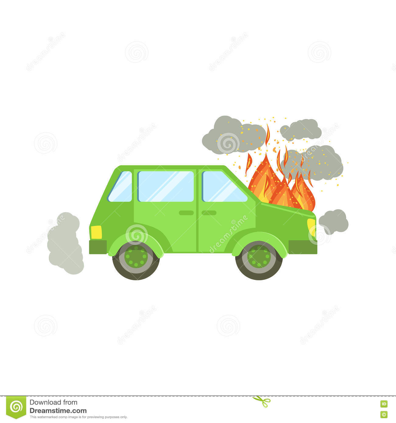 Car With Engine On Fire And Smoke Clouds Around Stock Vector