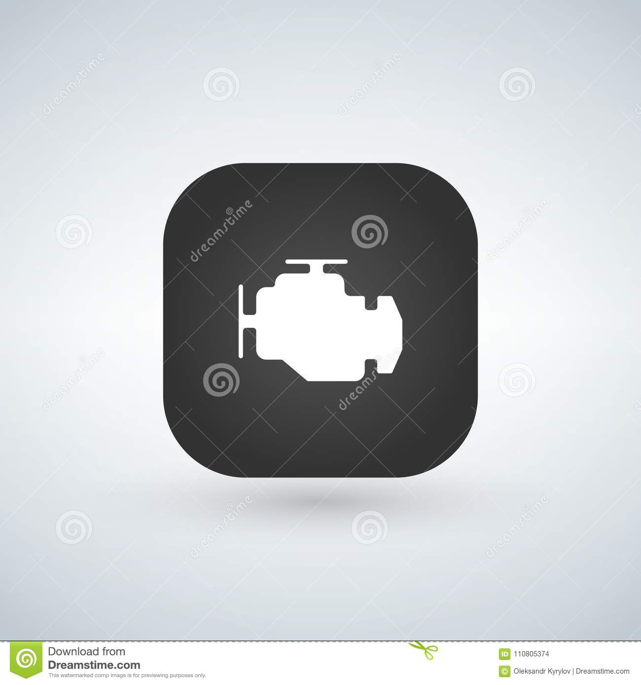Car Engine Icon Isolated On App Button Trendy Simple Symbol For Web Diagram Site Design Or