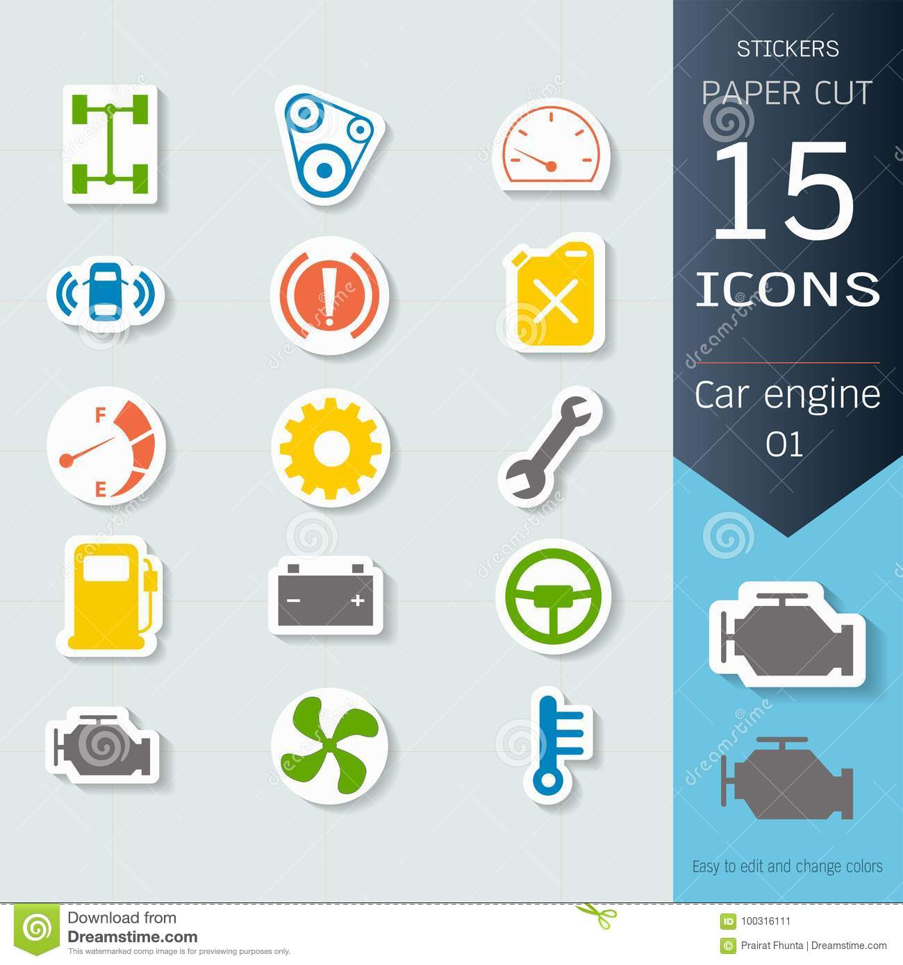Car engine infographic icons set, Vector Illustrations stickers and paper cut style, Easy to editable and change