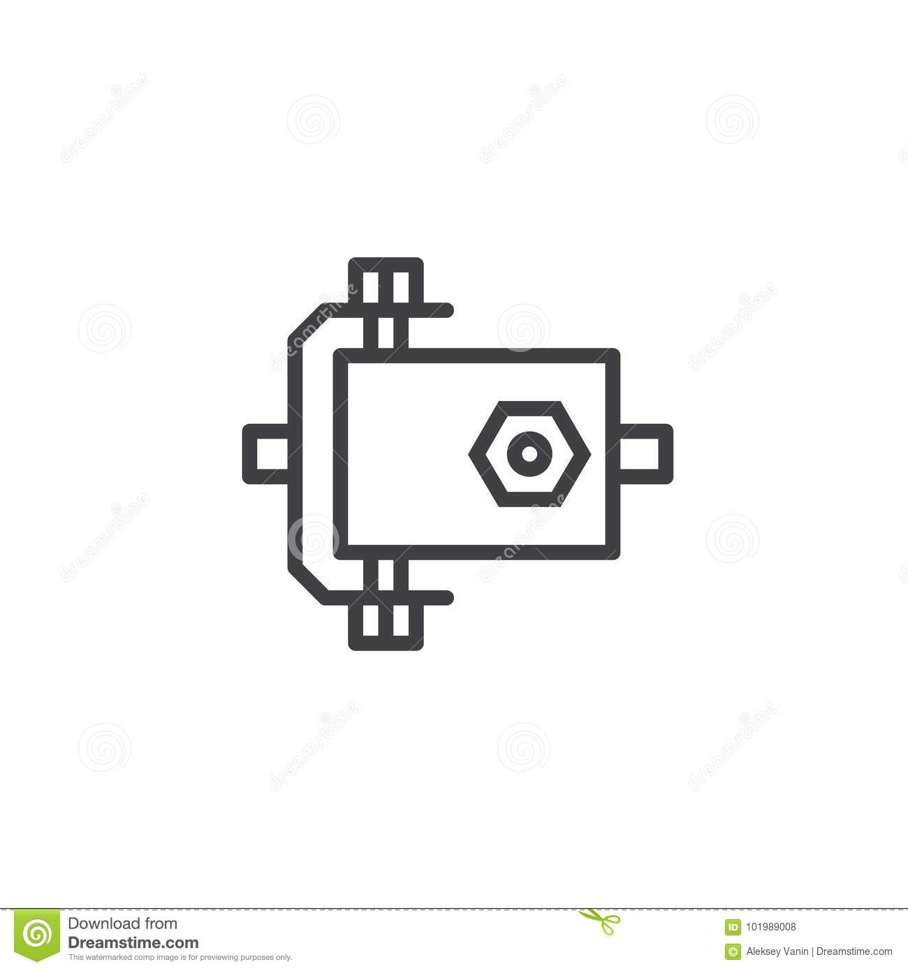 Car Engine Line Icon Stock Vector Illustration Of Simple 101989008 Diagram