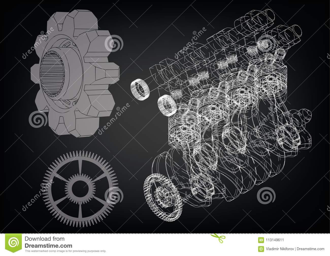 machine building drawing  the car engine on a black background  3d