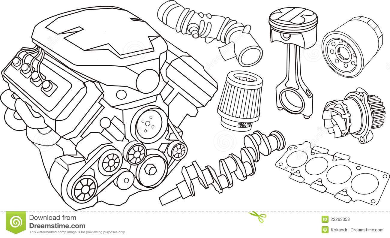 Car engine parts stock vector. Illustration of engine - 22263358