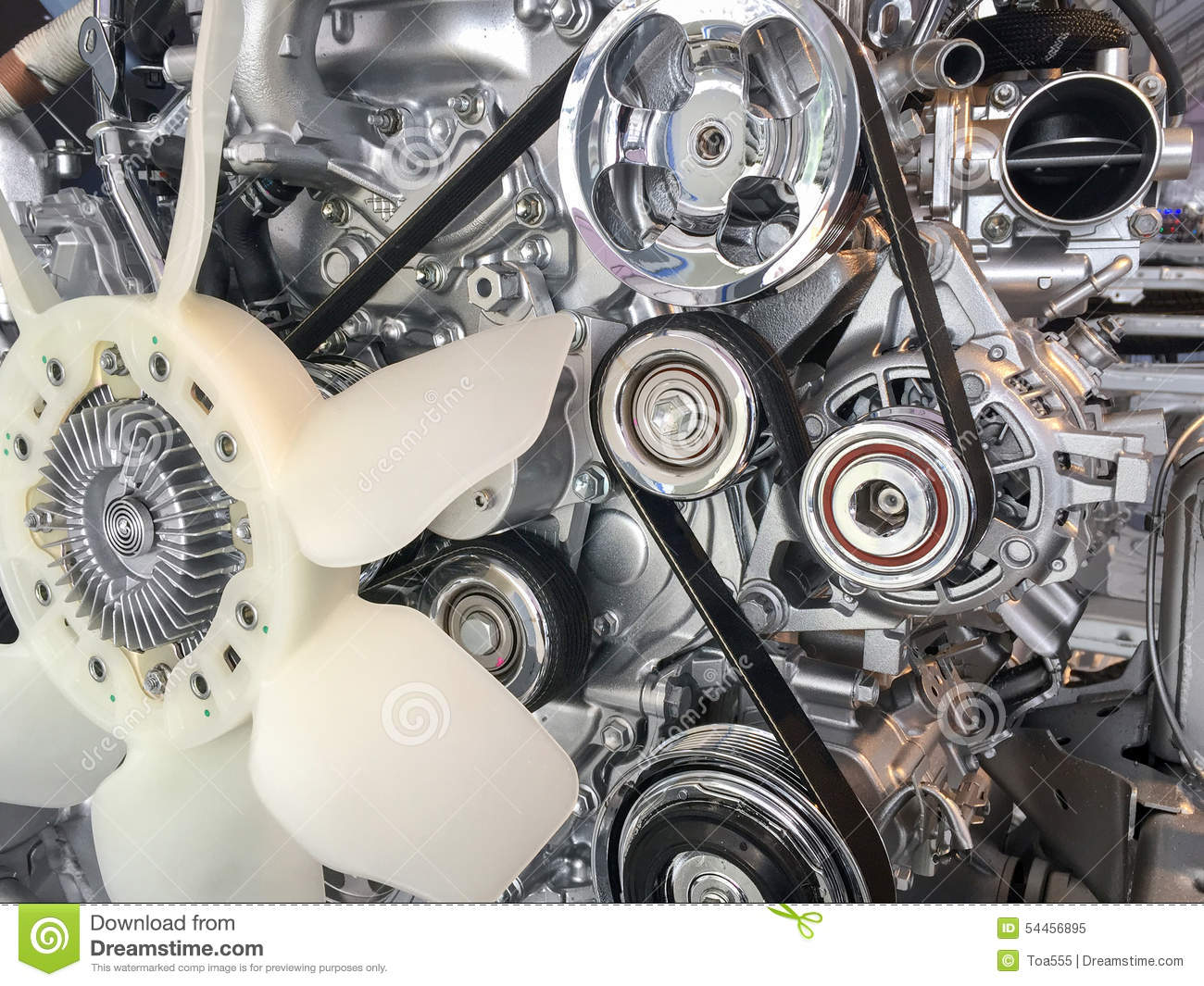 Car Engine Pulley Drive Belt Stock Photo Image 54456895