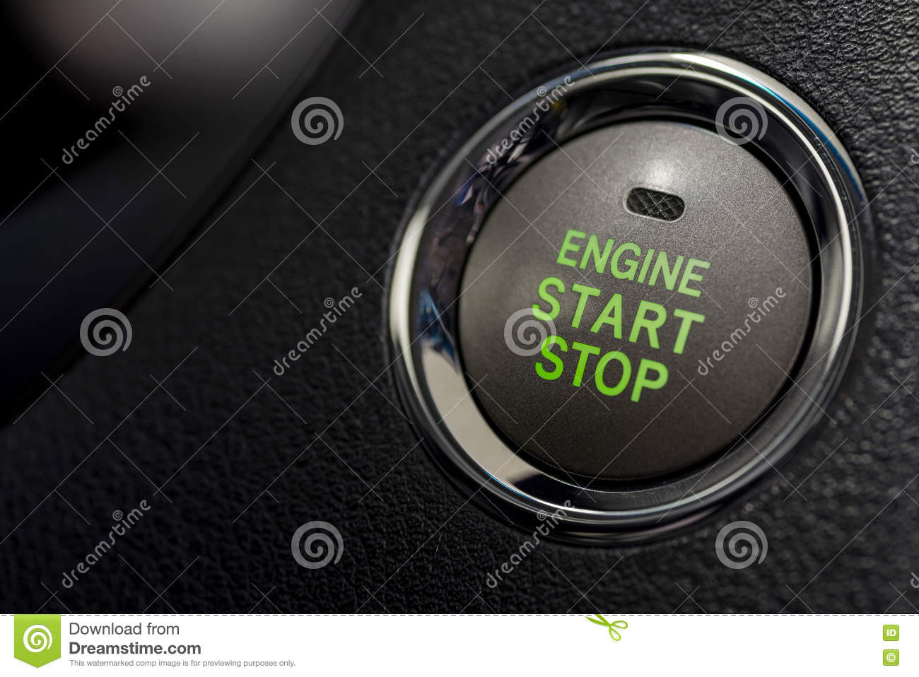engine start stop button from a modern car interior stock photography 60335822. Black Bedroom Furniture Sets. Home Design Ideas