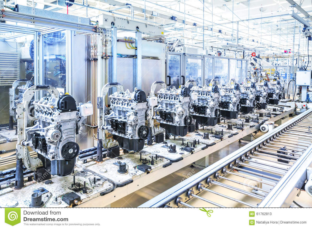 Car engines at conveyor line stock photo image 61762813 for Motor manufacturers in usa