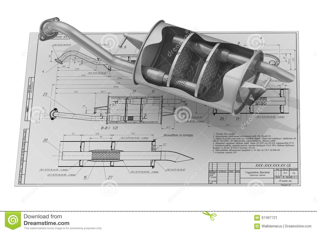 Car Silencer Diagram Residential Electrical Symbols Alarm Wiring Diagrams Exhaust On The Drawing Background Stock Illustration Image 67467721 Blueprints