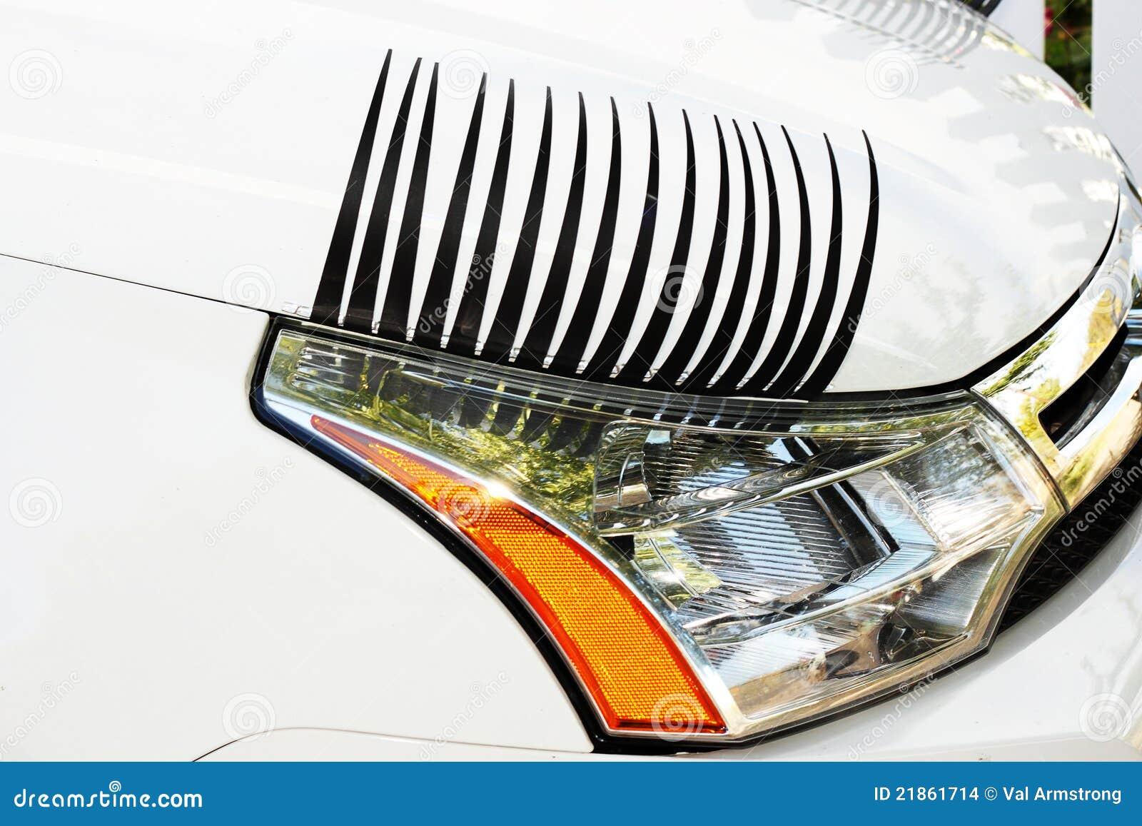 Car Eyelashes On Right Headlight Stock Photo Image Of Youth Black