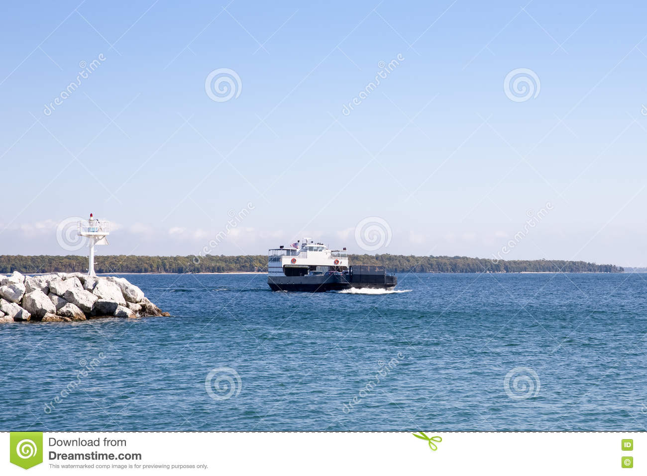 Car Ferry Entering A Harbor With Copy Space Stock Image