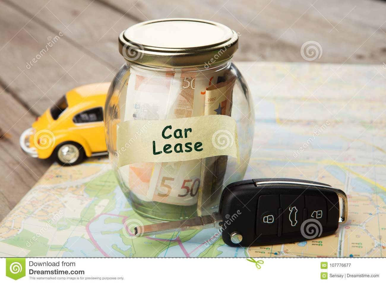 car finance concept money glass with word car lease car key stock