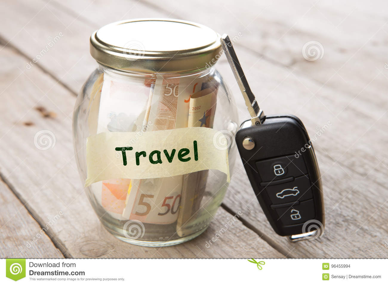Car finance concept - money glass with word Travel, car key and roadmap