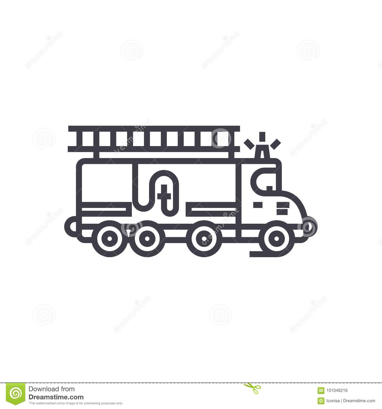 firefighter car drawing icon vector illustration
