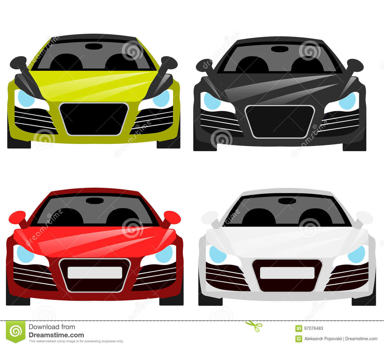 Car Flat Vector Icons In Front View Stock Vector Illustration Of