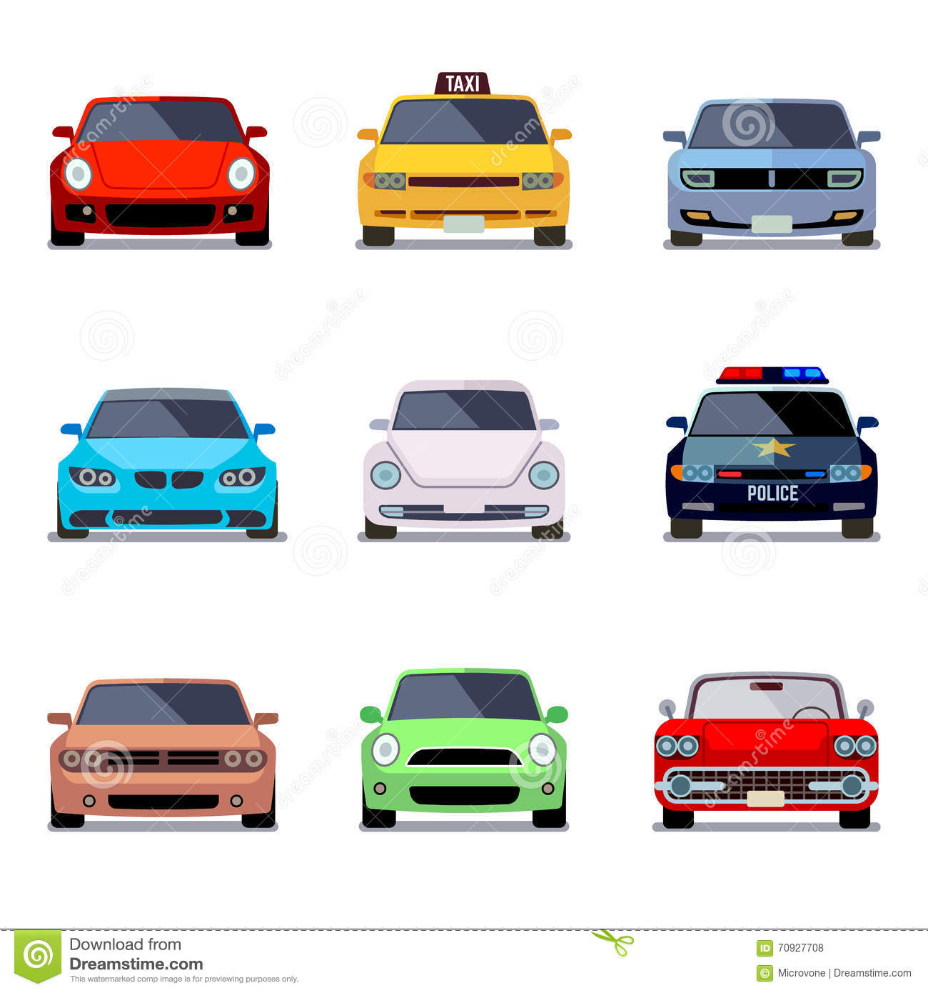 car flat vector icons in front view stock vector
