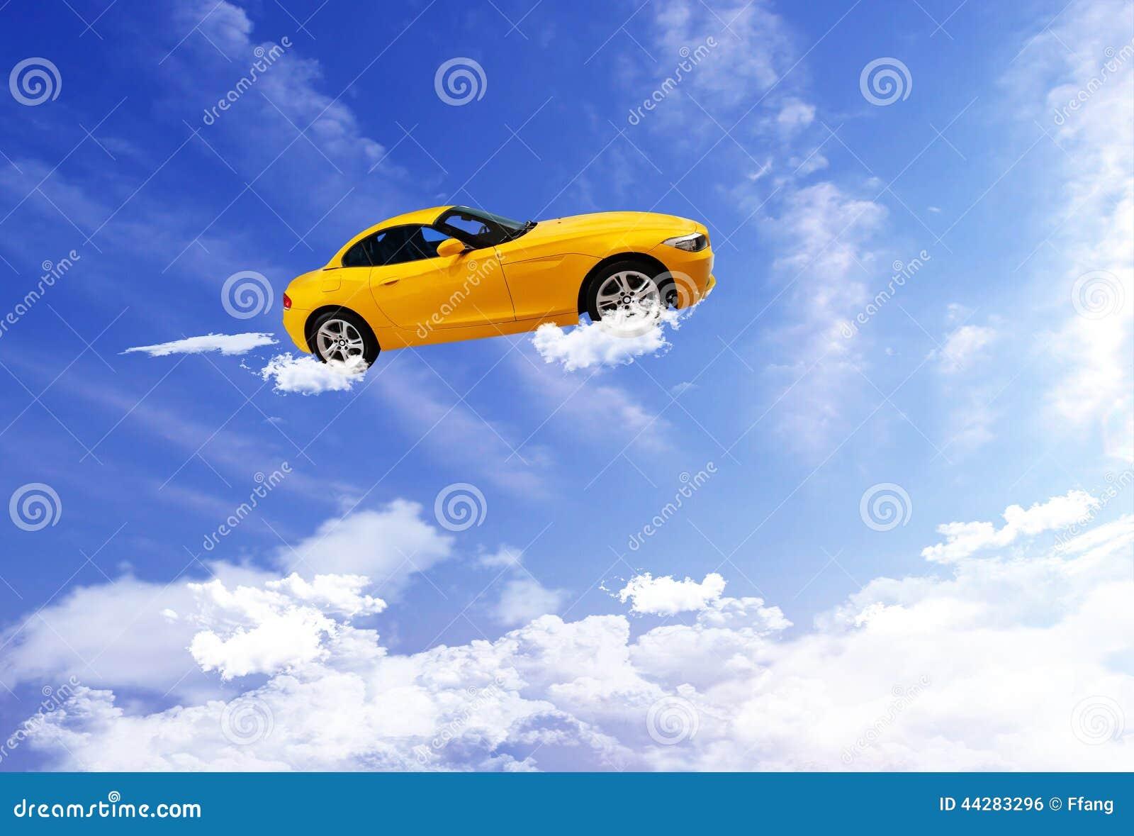Car Flying On Blue Sky Background. Stock Photo - Image