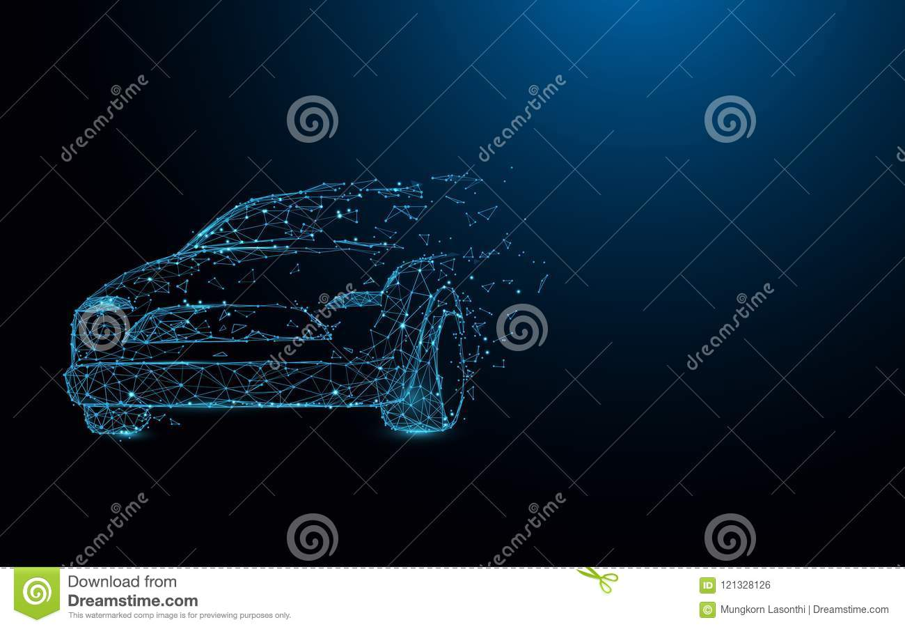 Car form lines, triangles and particle style design