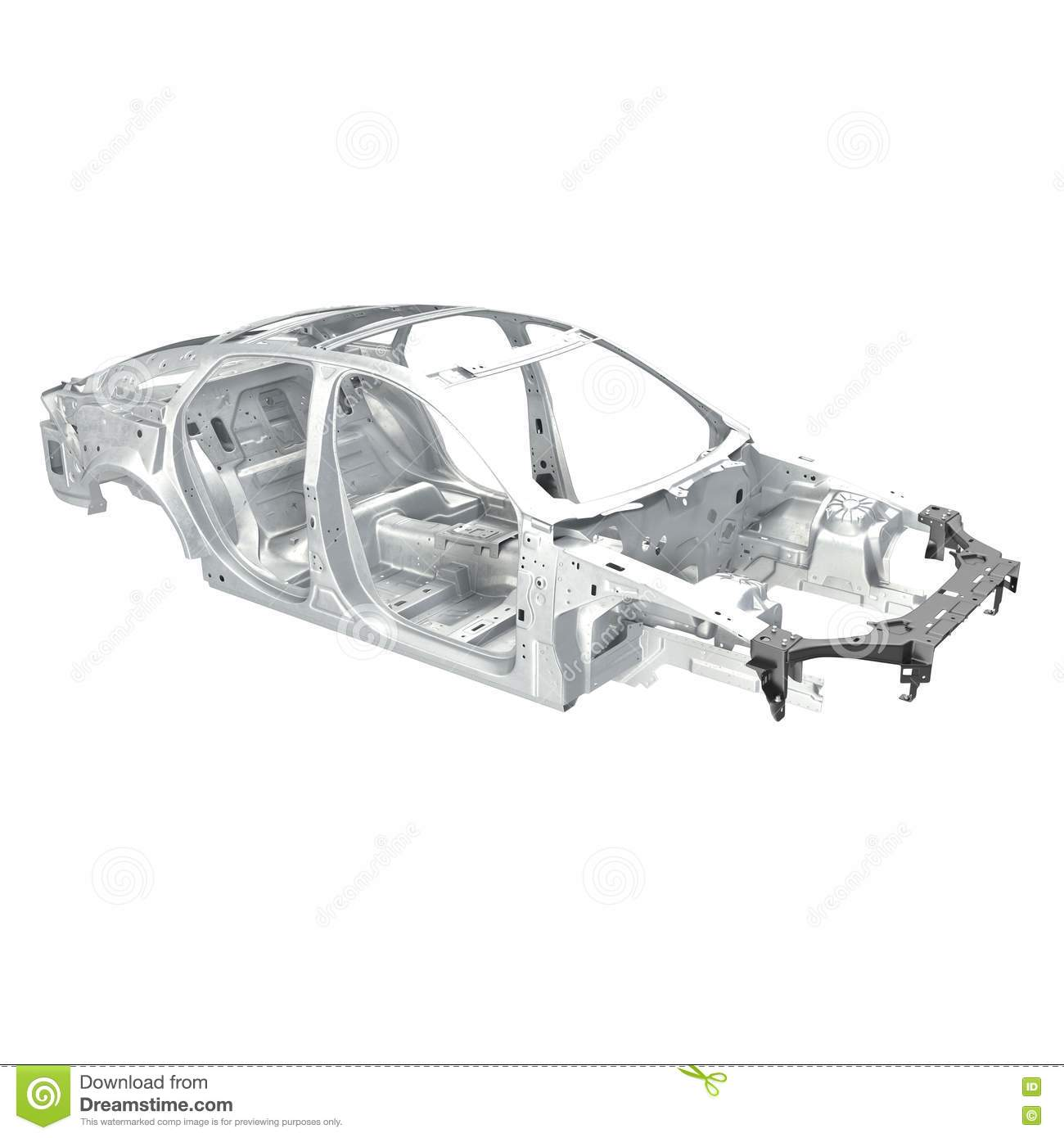 Car Frame Without Chassis On White. Angle From Up. 3D Illustration ...