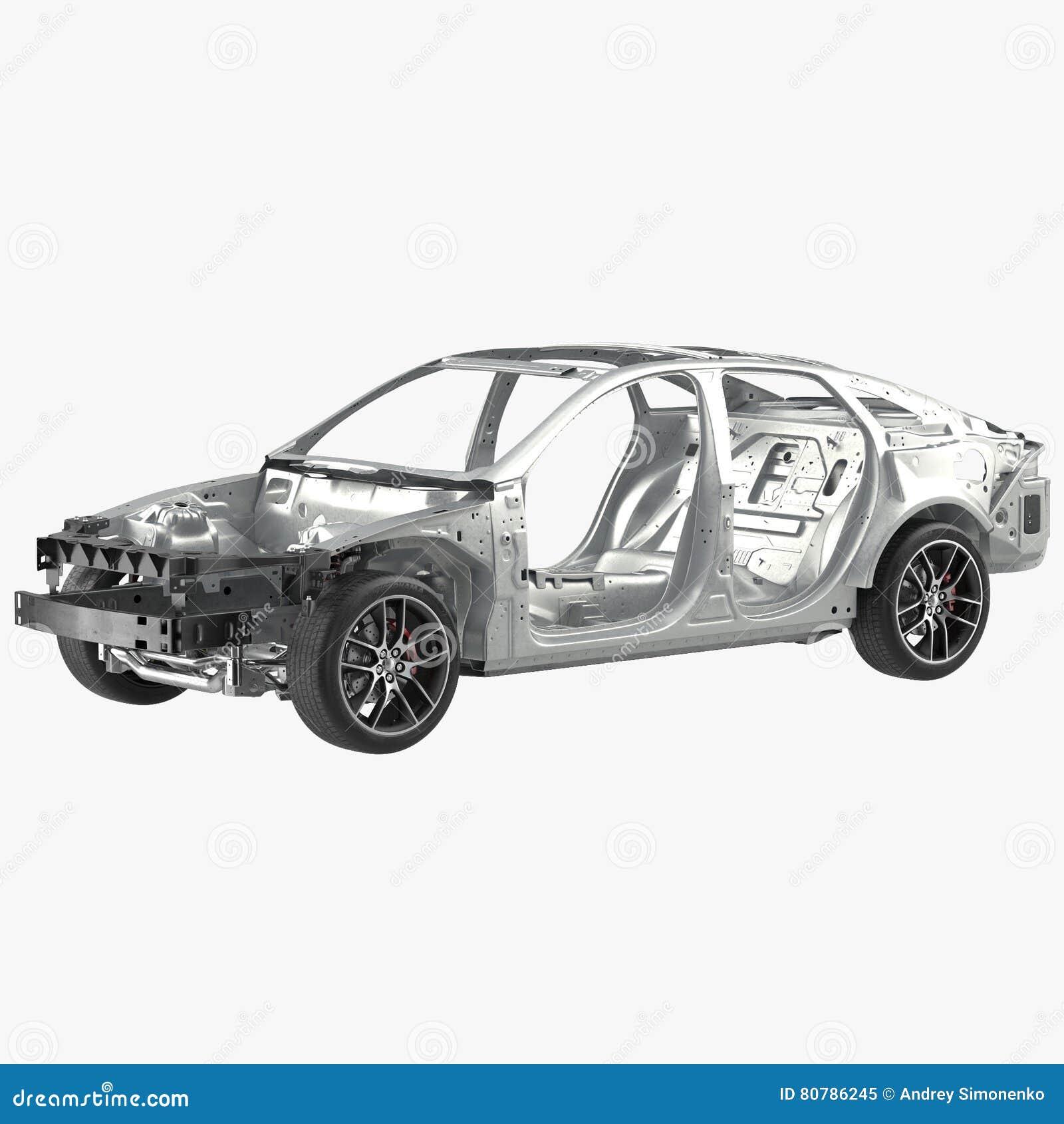 Car Frame With Chassis On White. 3D Illustration Stock Illustration ...