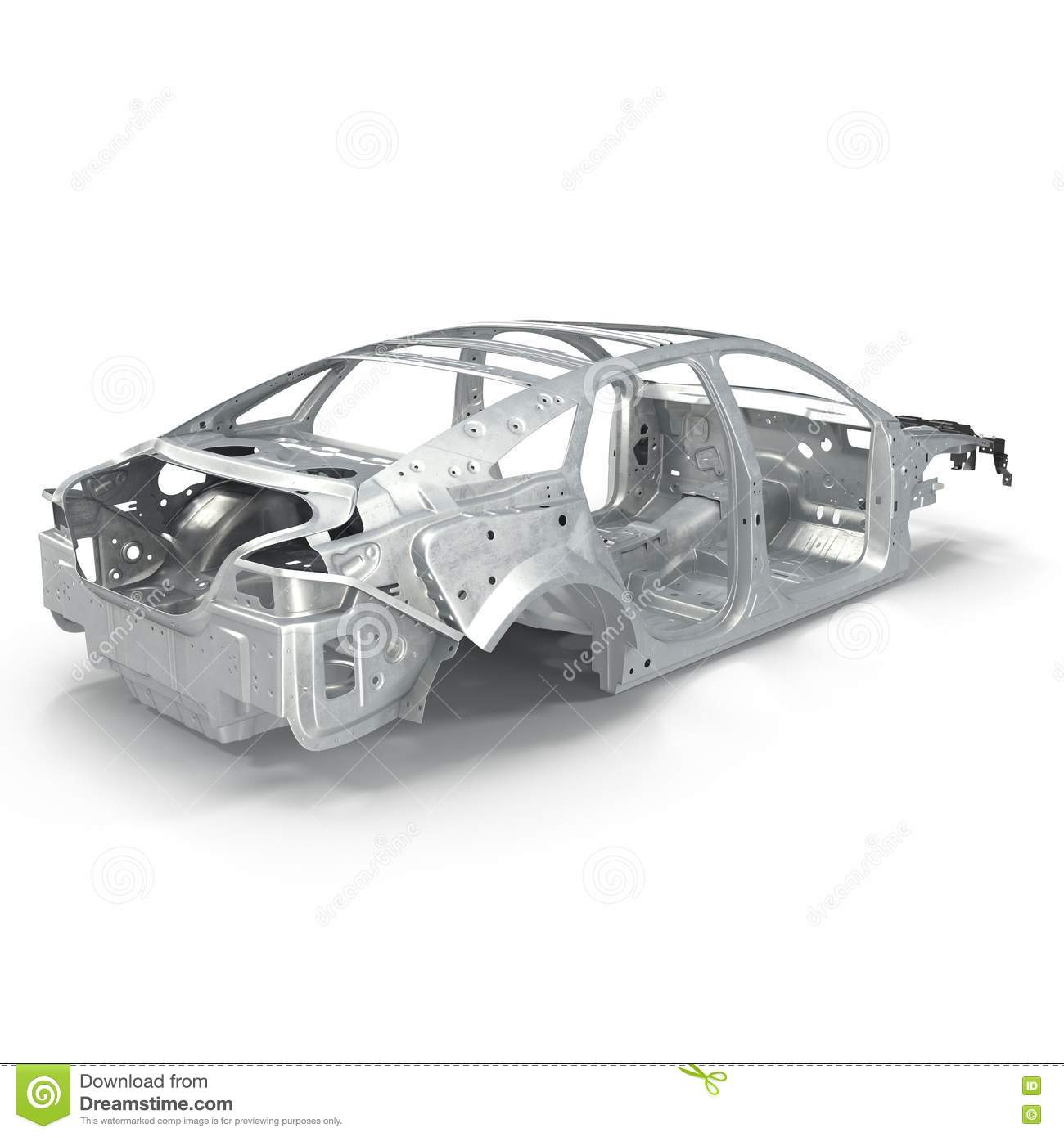 Car Frame Without Chassis On White. 3D Illustration Stock ...