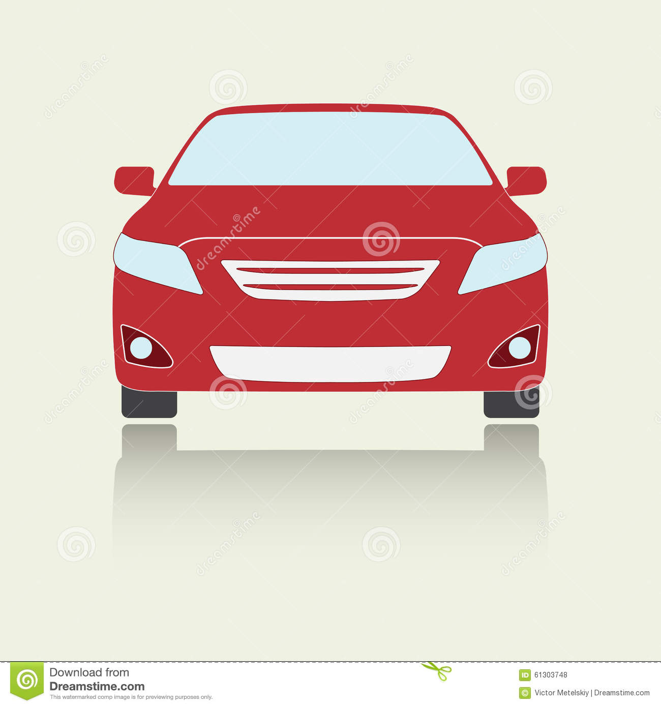 Car Front View Icon Or Sign Colorful Vector Illustration Of Vehicle