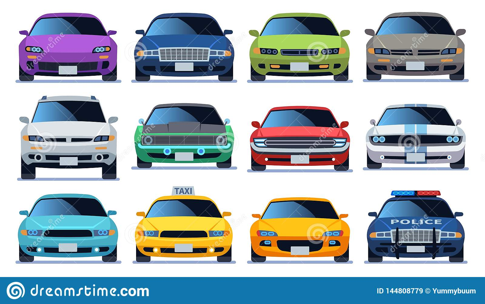 Car front view set. Urban city traffic vehicle model cars. Police and taxy color fast auto traffic driving flat vector