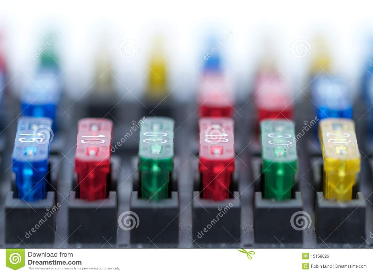 Car Fuses Stock Photo Image Of Fuse Close Focus Copyspace 15158626 Box Up Colourful Different Amp Rated Inserted In Top Part Ideal For