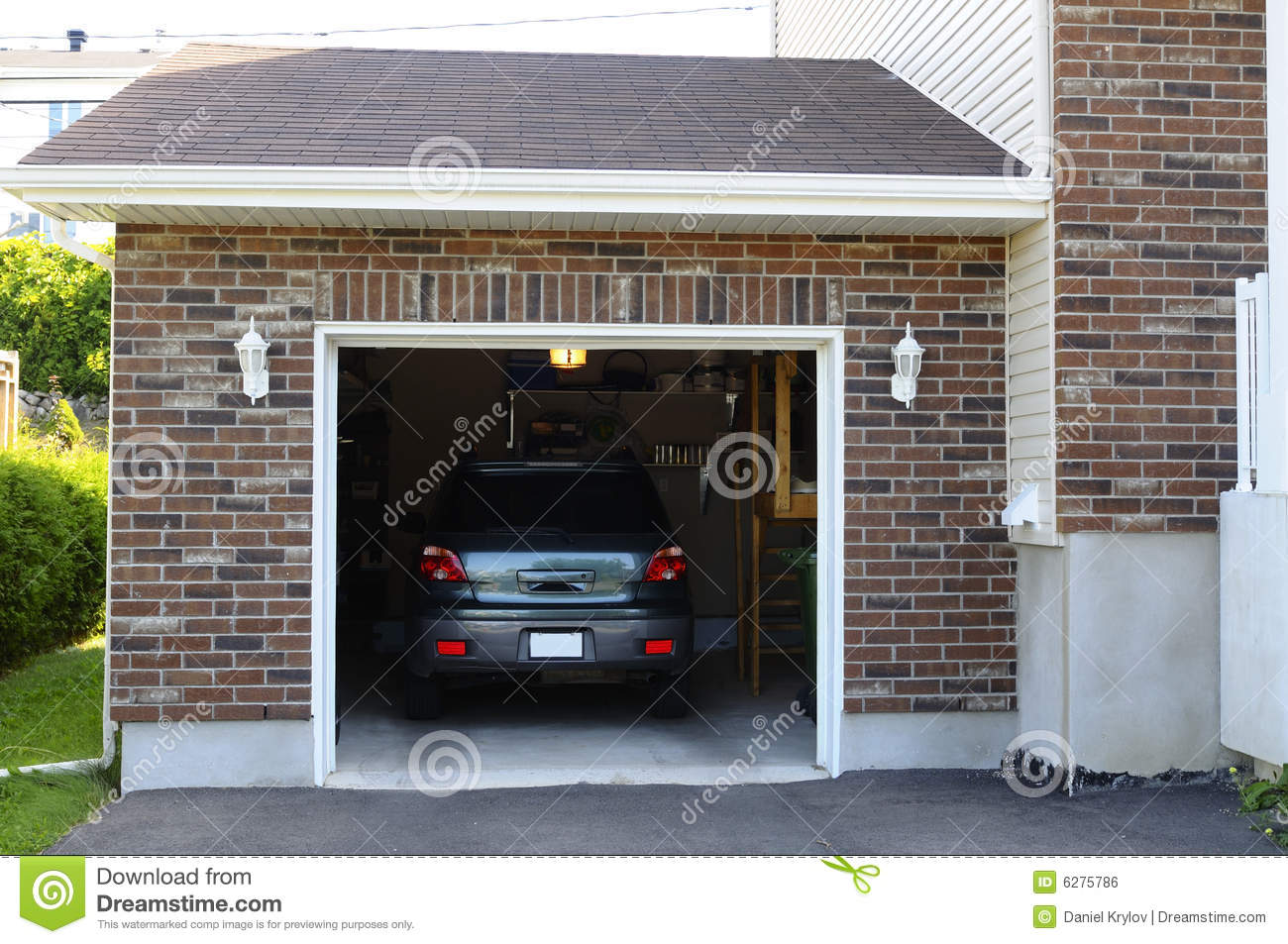 Car in the garage stock photo image of door residential for House in garage