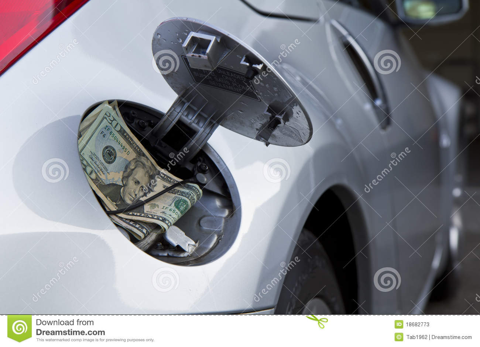Automotive Gas Cap : Car gas cap and money stock photos image