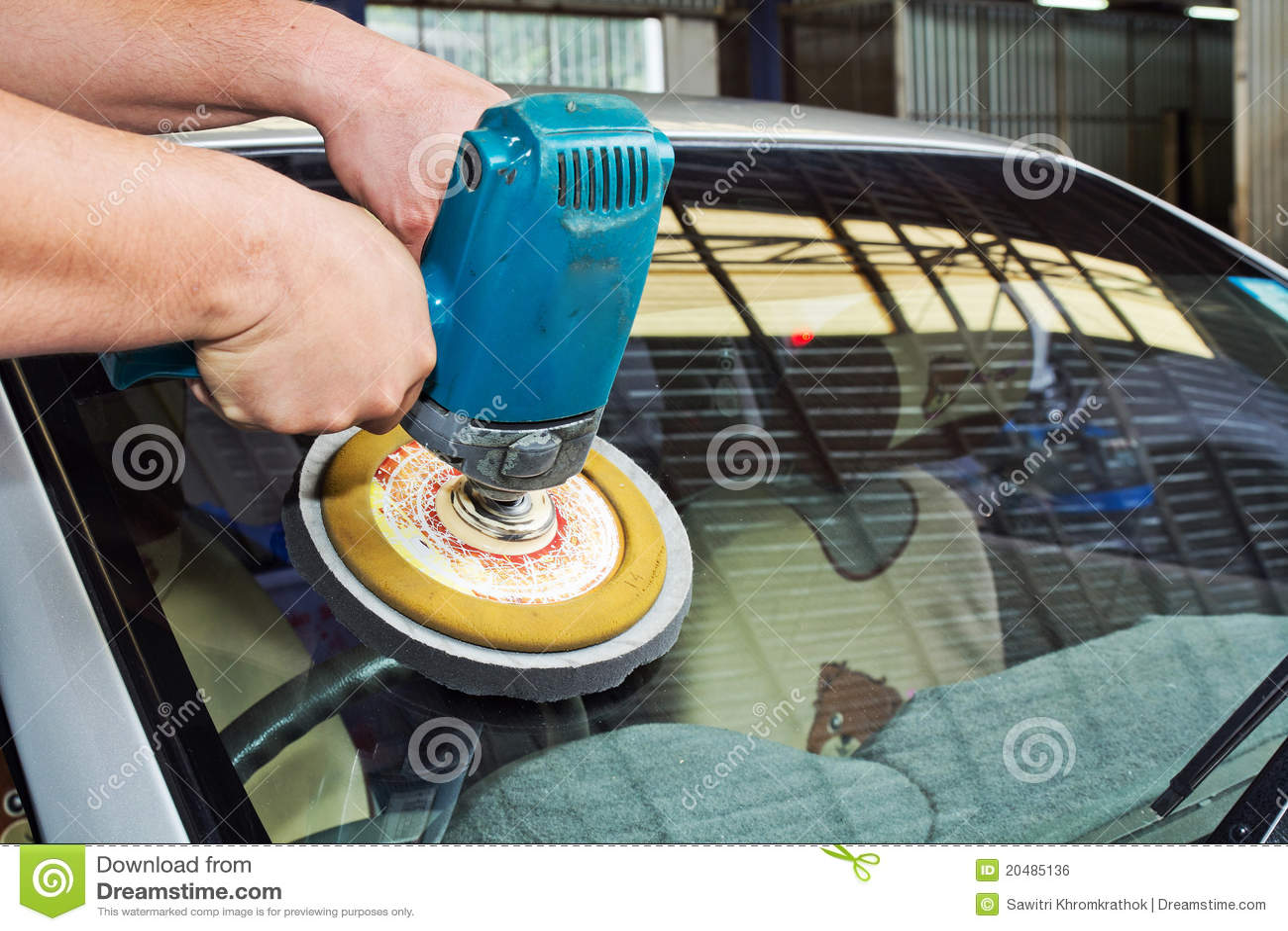 Car Glass Polishing With Power Buffer Machine Royalty Free
