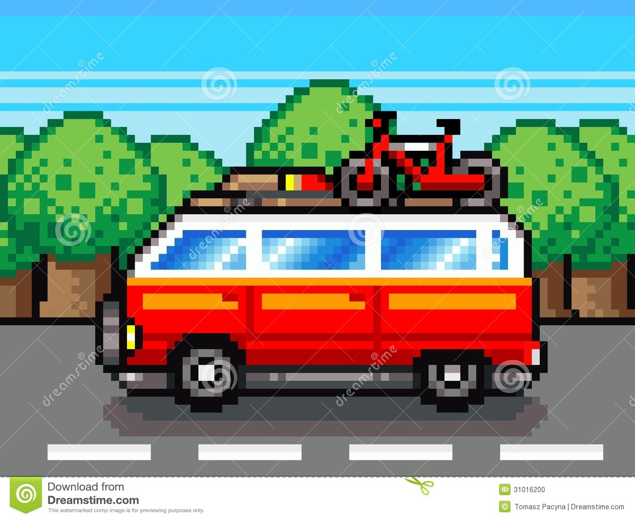 Car Going For Summer Holiday Trip - Retro Pixel Illustration Stock ...