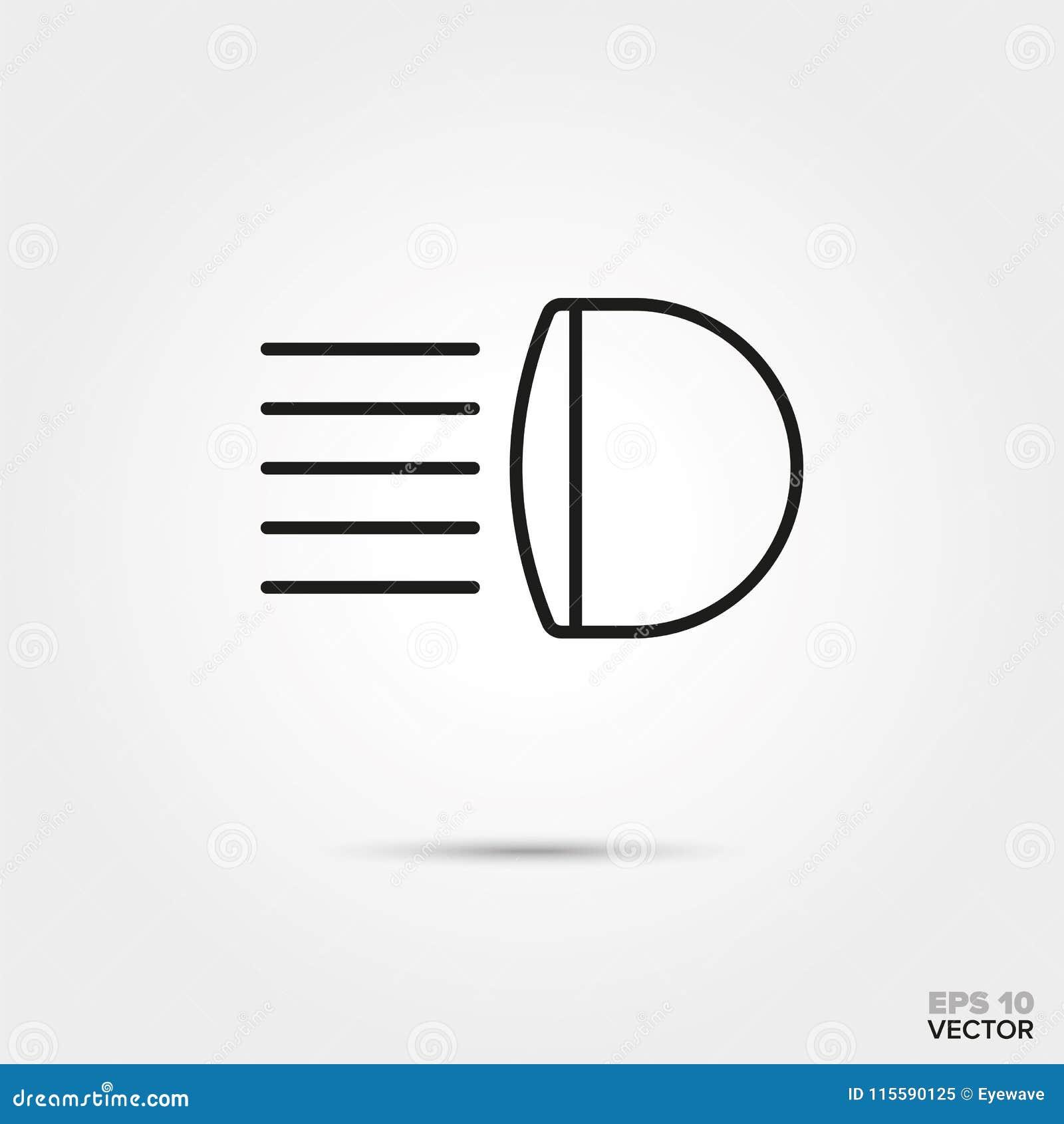 Car Headlight Vector Icon Stock Vector Illustration Of Automobile