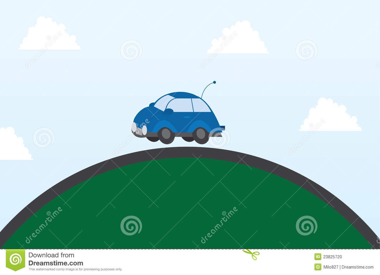 Car Driving Over Hill