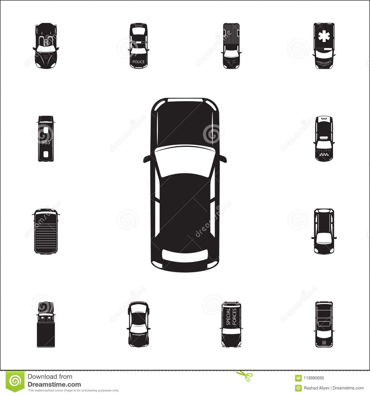 Car Icon Detailed Set Of Transport View From Above Icons Premium