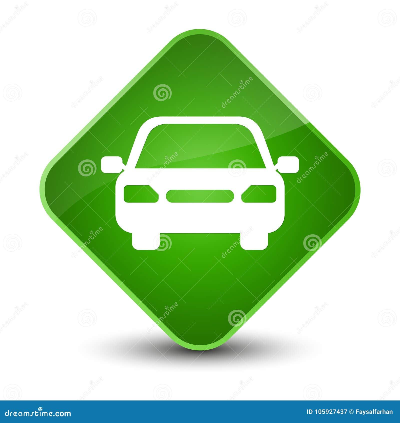 Car Icon Elegant Green Diamond Button Stock Illustration