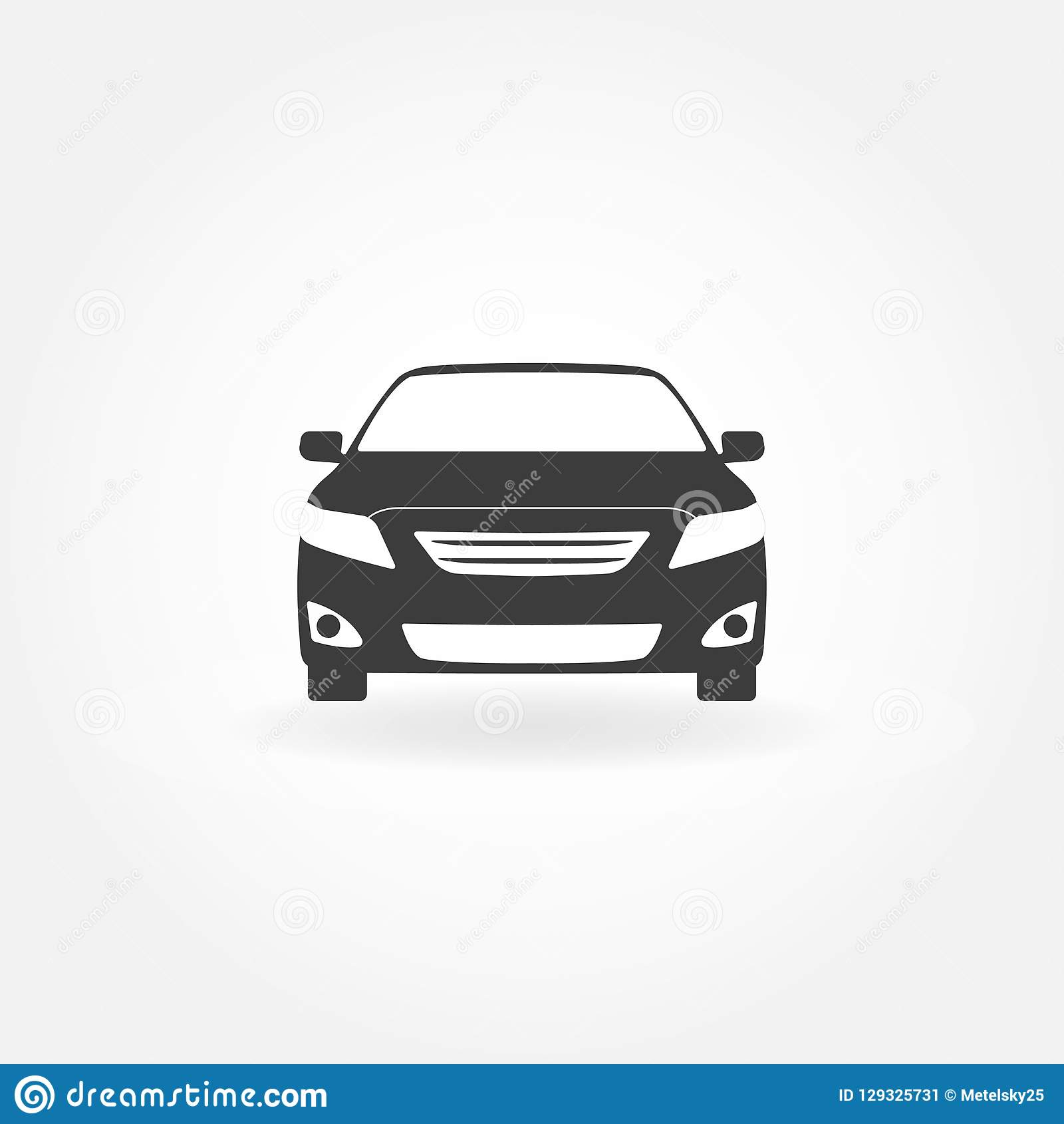 Car Icon. Car Front View Icon. Vector Illustration Of