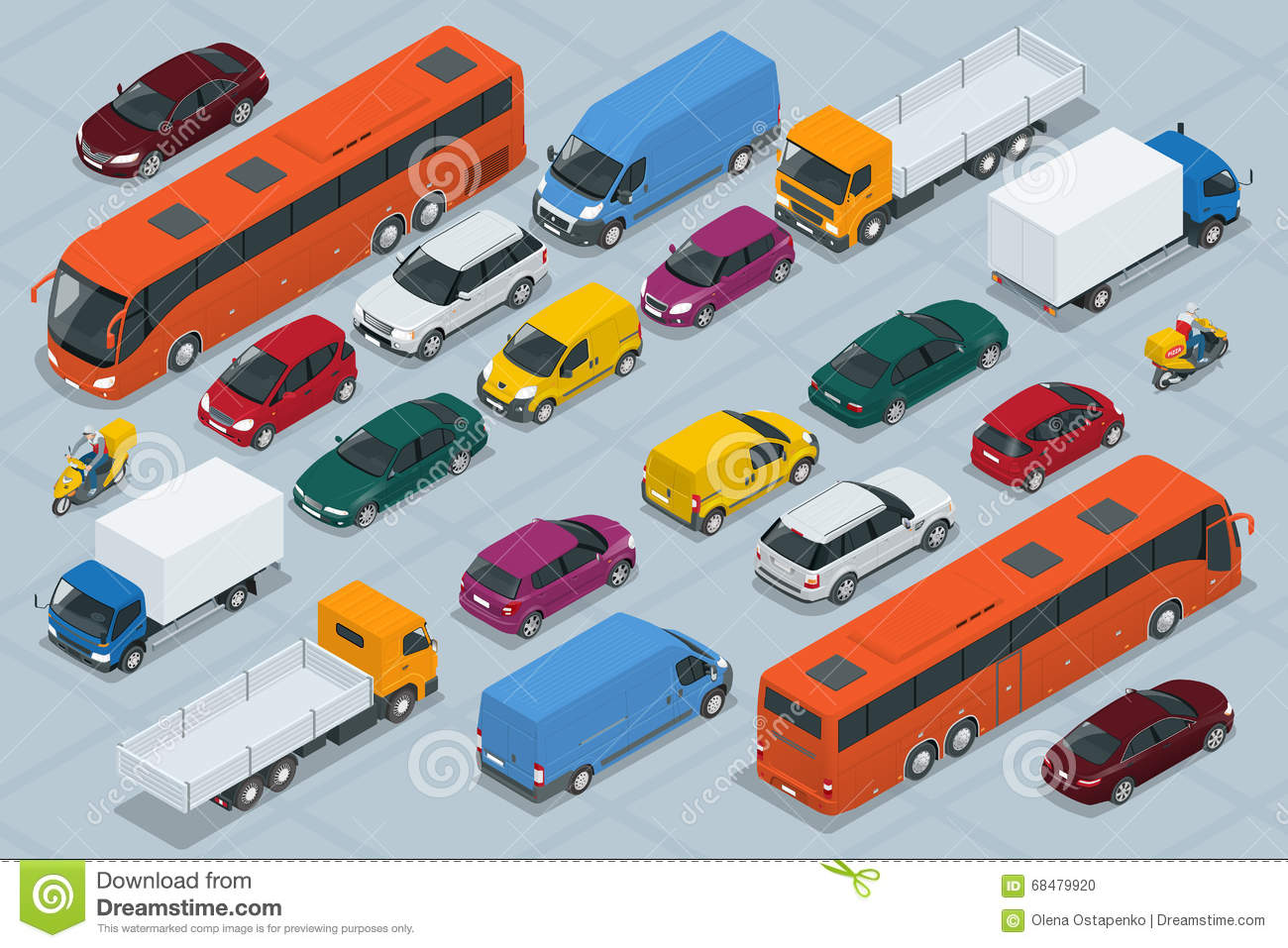Car icons. Flat 3d isometric high quality city transport car icon set. Car, van, cargo truck, off-road, bus, scooter