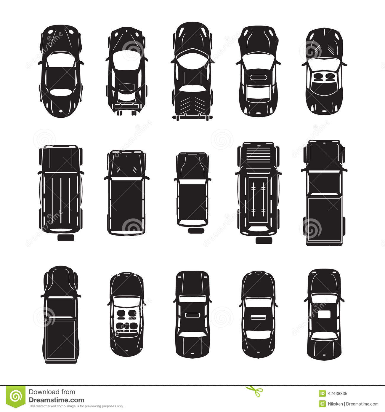 Car Icons Top View Stock Vector