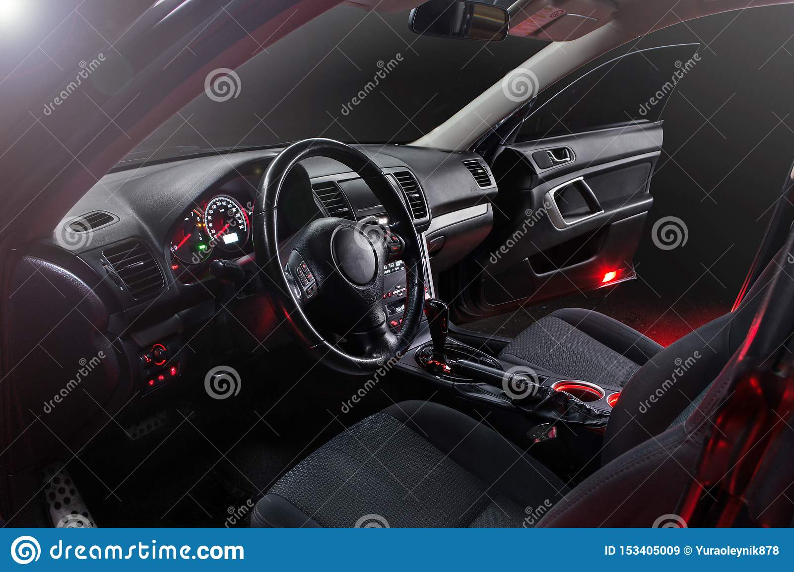 Car Inside Gray Seats Red Dashboard Night Photography In The Dark Stock Image Image Of Wheel Gray 153405009