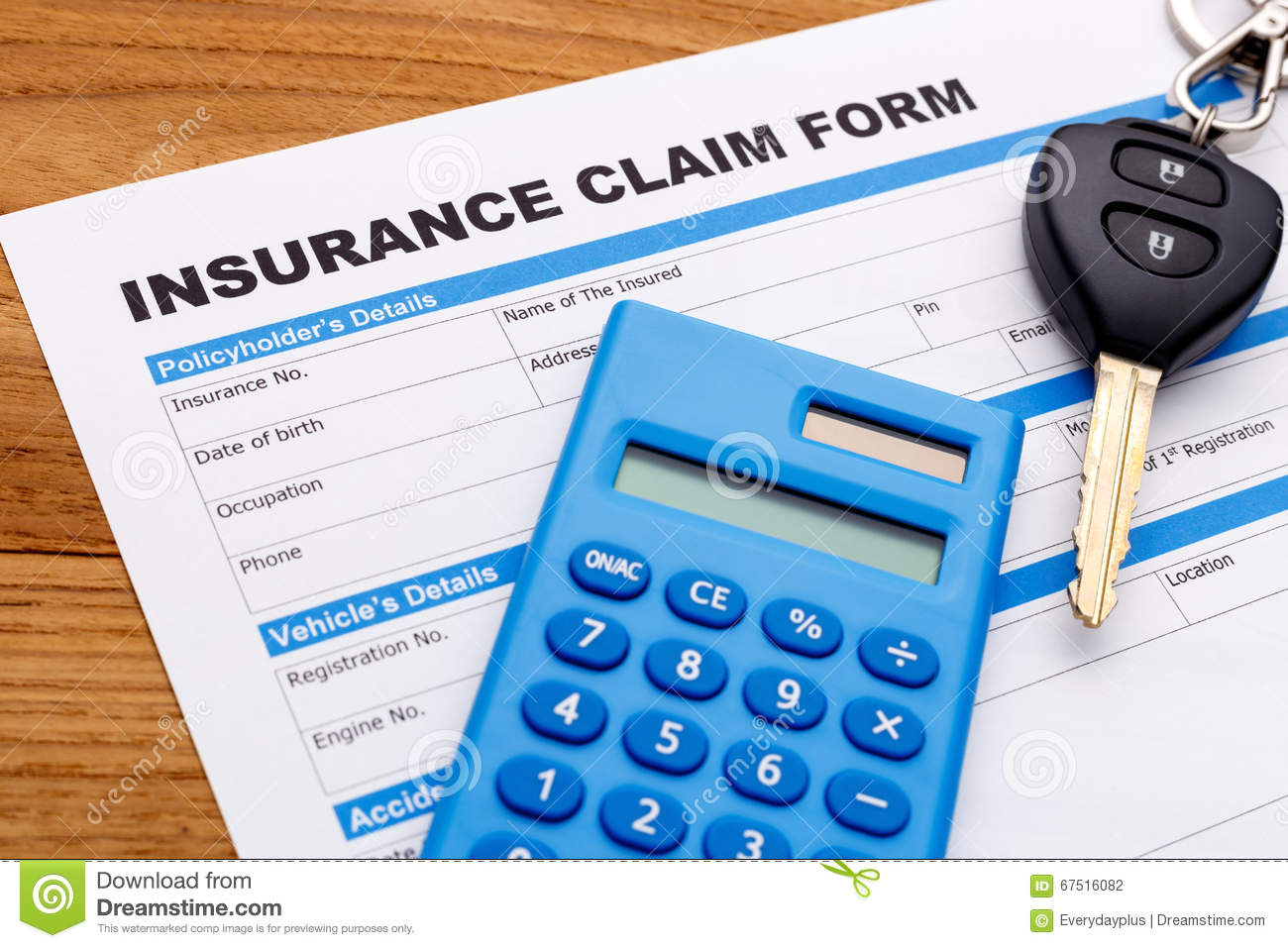 Car Insurance Claim Stock Photo Image Of Paperwork Form 67516082