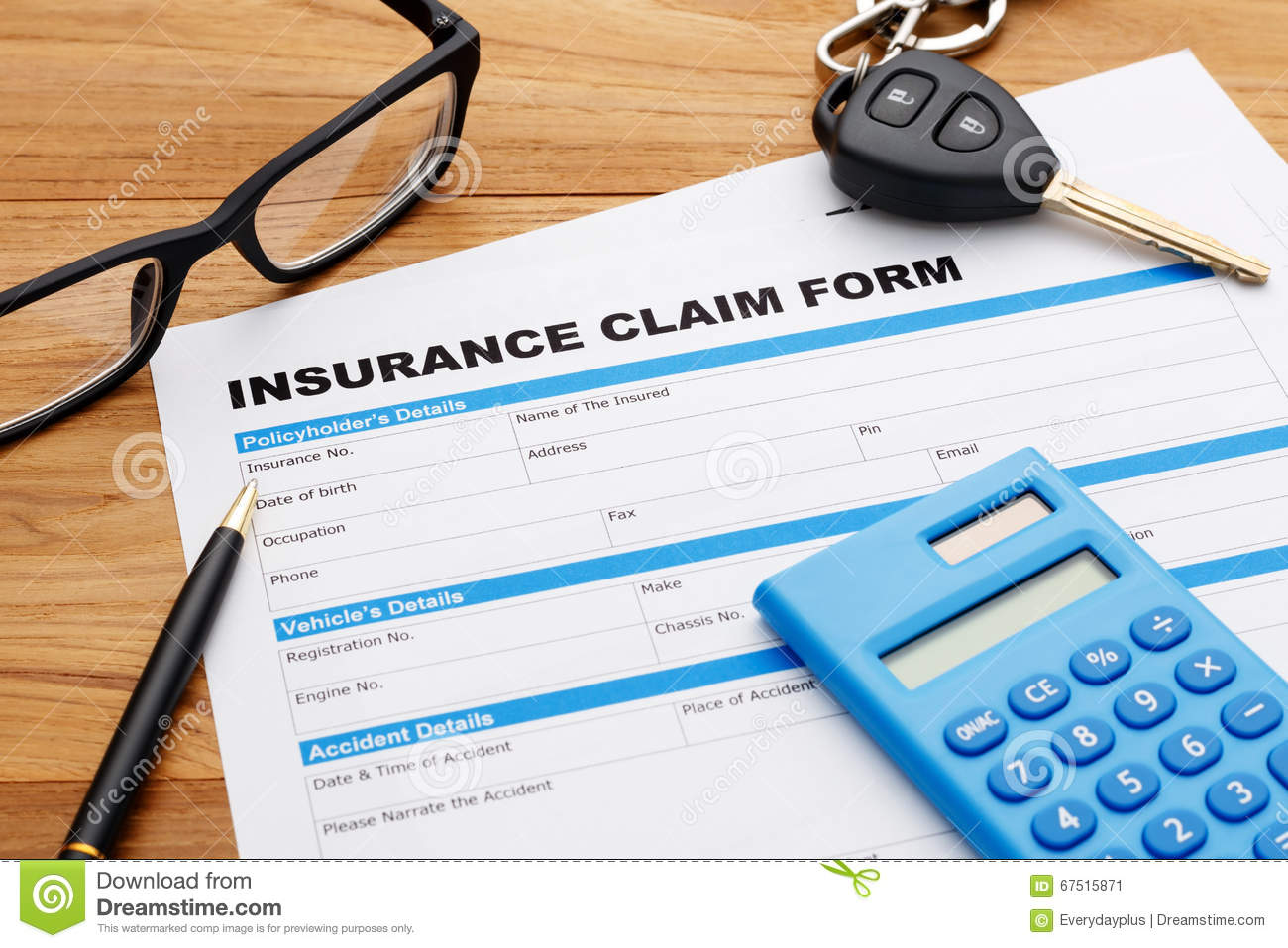 Car insurance claim form stock image. Image of auto ...