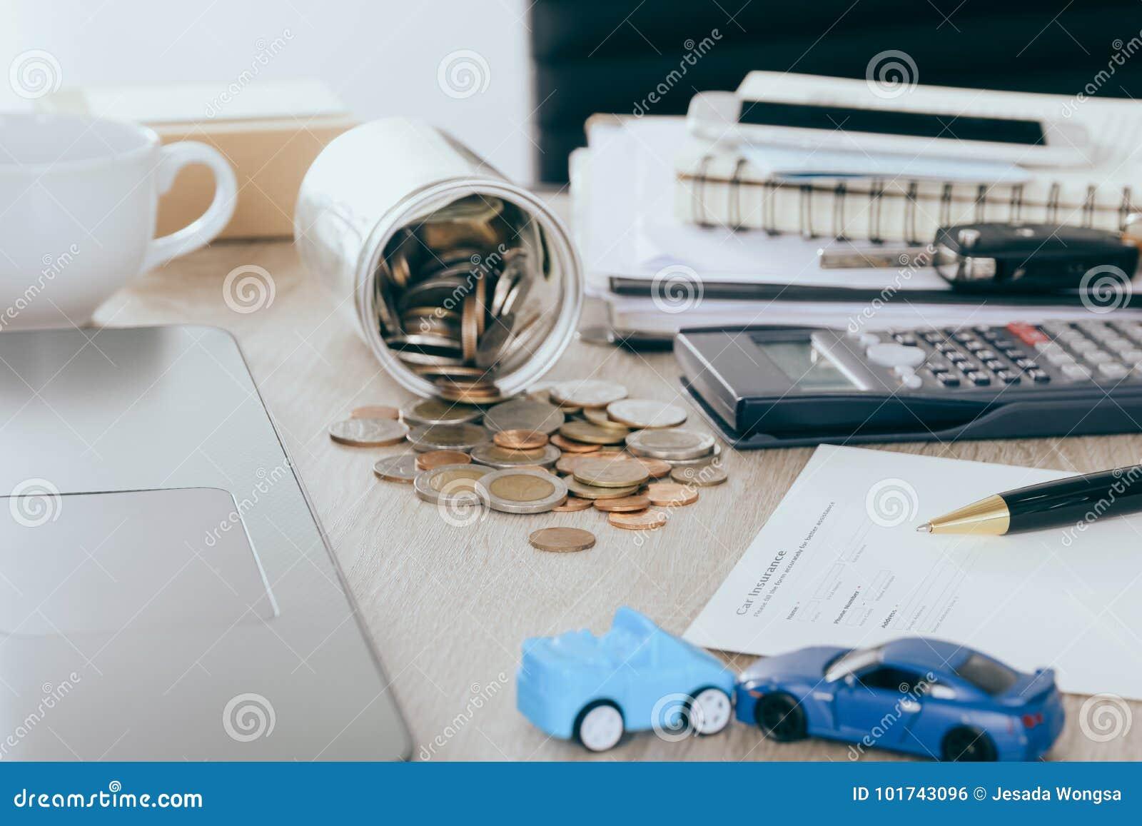 Car Insurance Concept:Car Claim Form With Car Toy Crash On ...