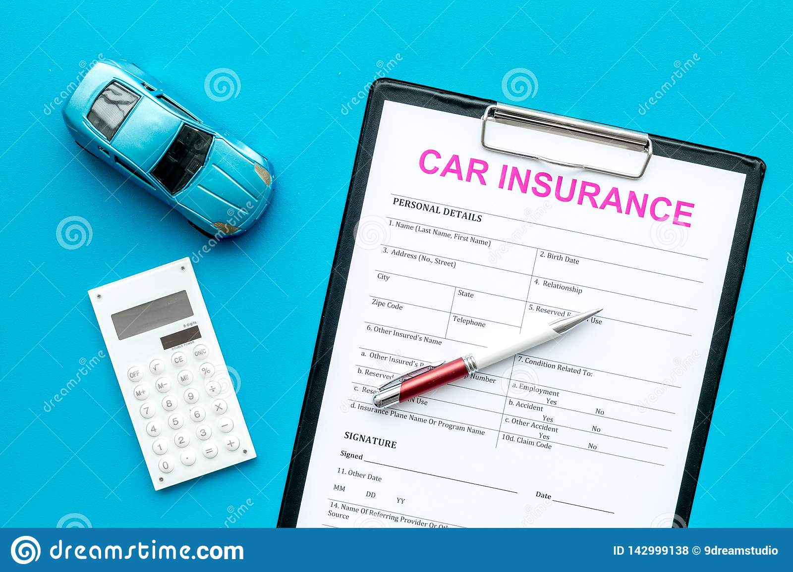 Car Insurance Concept With Form, Car Toy And Calculator On