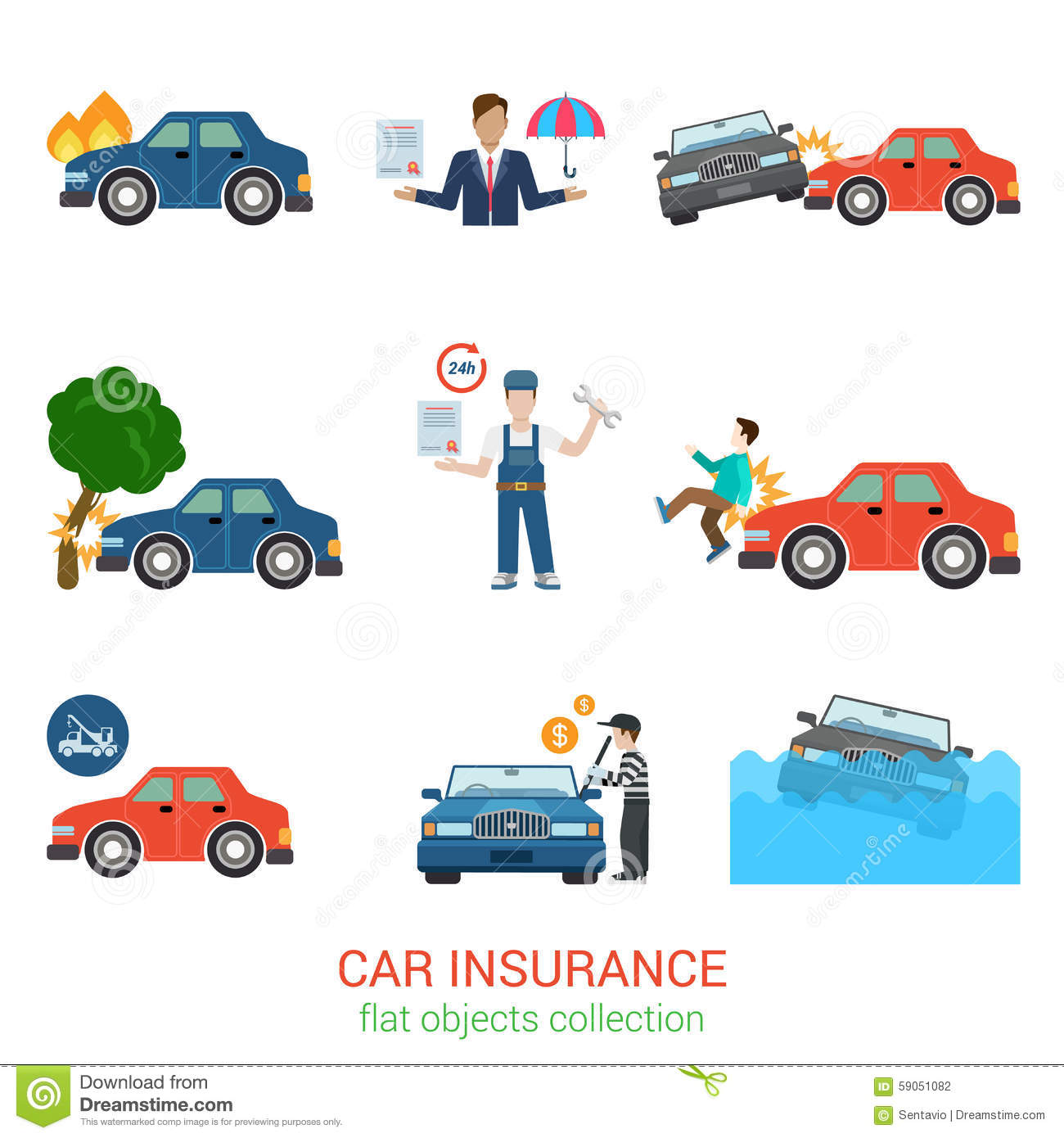 Car Insurance Flat Vector Icon Pack Accident Service