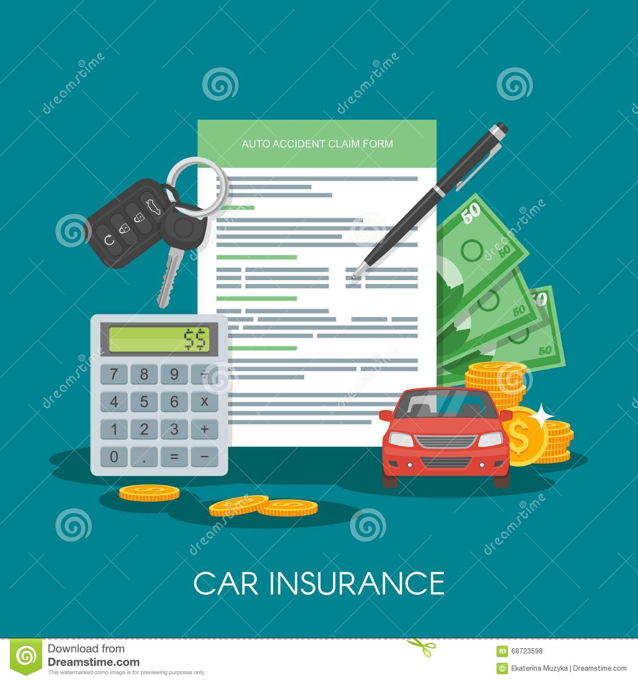 Auto Insurance With Car Key And Money Royalty Free Stock