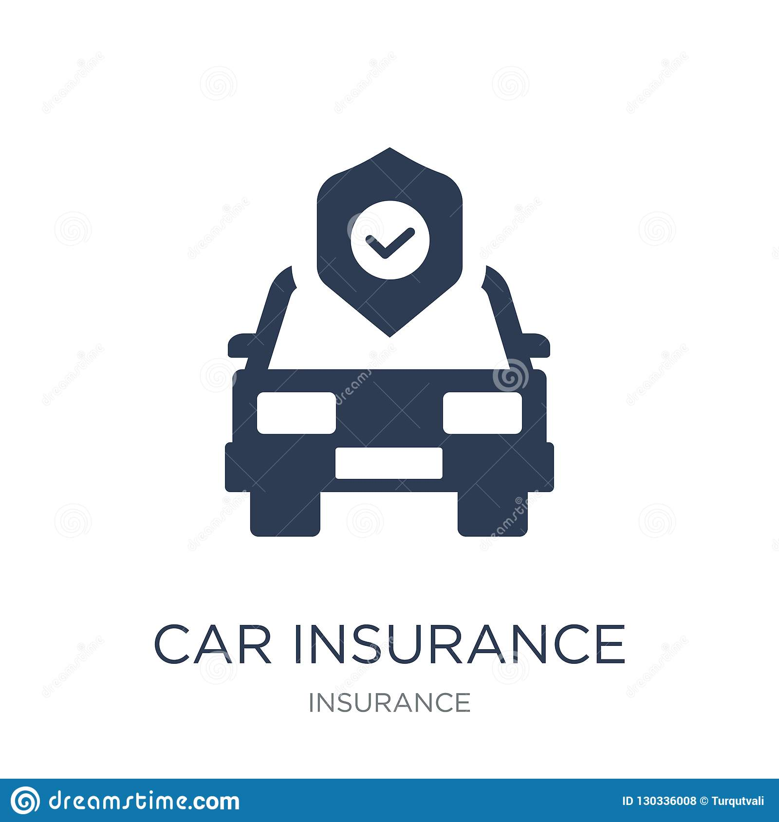 Car Insurance Icon Trendy Flat Vector Car Insurance Icon On White